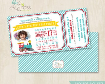 Custom Birthday Party Invitation by Mulberry Paperie - Choo Choo Train
