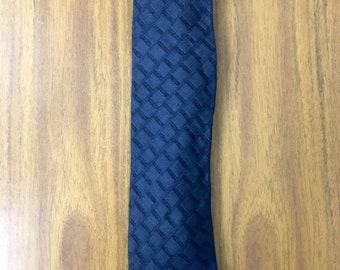 Designer Men's Giorgio Armani 1990s Vintage SILK Necktie, Black Tie, Dark Grey Tie, Silk Tie, Jacquard Tie. Made in Italy.