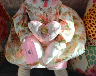 Button My Heart With Love Raggedy Doll