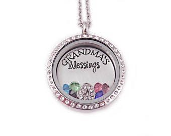 personalized grandma s blessings necklace engraved