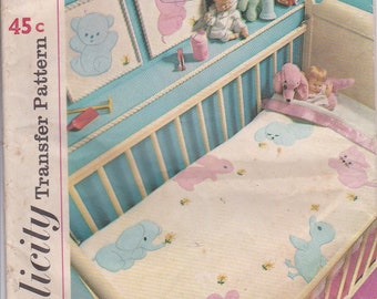 1960s Simplicity Sewing Pattern No 4749 Applique Transfers for Baby Room Items