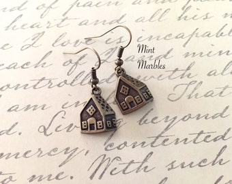 Silver or Brass Small House Dangle Earrings. Miniature Cute House. Home. Gingerbread. Unique Earrings. Under 10 Gifts. Vintage Style. Tiny.
