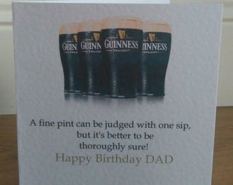 Personalised Humorous Guinness Pint Birthday Card Any Text