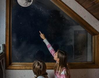 Instant download magic Santa moon silhouette