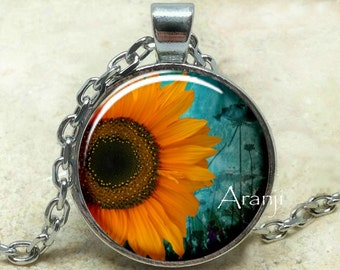 Sunflowers, sunflower pendant, sunflower necklace, sunflower jewelry, sunflower photo pendant, sunflowers, Pendant #PL191P