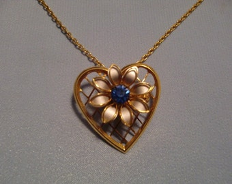 Vintage gold Tone Pendant With Silver Tone Flower And Blue Rhinestone In Center Pendant Necklace