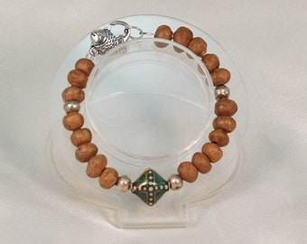 Neutral clay bead bracelet, rustic bracelet, mood bracelet.
