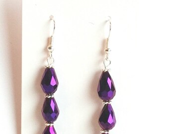 Purple Teardrop Earrings, Purple Earrings, Teardrop Earrings, Gifts for Her, Mothers Day Gift, Valentines Gift, Bridesmaid Earrings