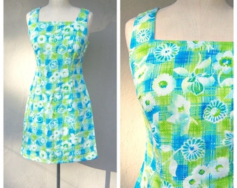 60s mini dress / mod sun dress / floral day dress / AQUA blue lime green white cotton sheath dress / daisy scooter dress / small medium