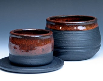 Black French Butter Keeper in Temmoku Glaze