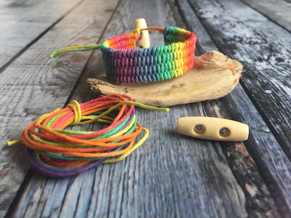 Jewel Loom Bead Kit Hemp Rainbow Love Weaved bracelet designed by Julianna C Avelar Jewel Loom