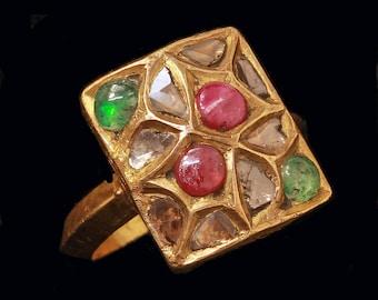 Antique Ring 22k Gold Multi Gem Garden Giardinetti Kundan Indian c1800 (#6483)