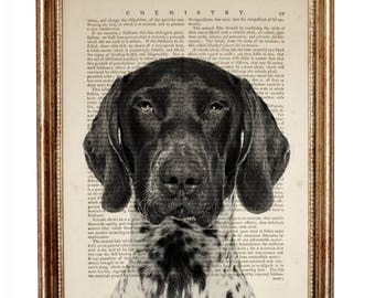 Dog Lover Gift, German Shorthaired Pointer Dog Black White GSP Art Print Dictionary German Shorthaired Pointer Artwork