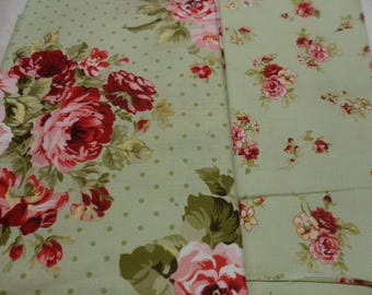 A5 Bullet Journal Cover - In Green Roses fabric