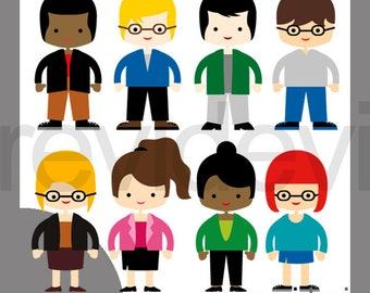 People clipart man woman, high schooler, high school students clip art / men women character digital images, commercial use