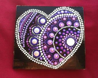 Purple and white Valentines Day heart mandala