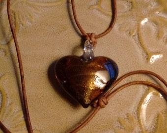 Art Glass Heart Necklace:  Brown/Gold
