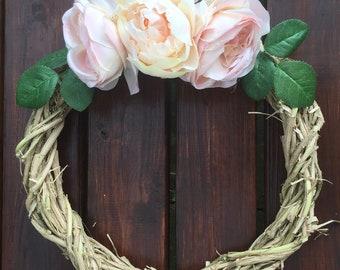 Spring Wreath, Front Door Wreath, Pale Pink Roses Wreath, Grapevine Wreath, Rustic Wreath