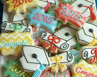 Graduation cookies - 1 dozen graduation cookies - Decorated cookie favors