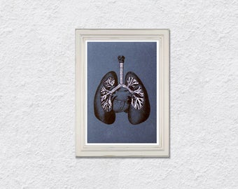 Lungs Anatomy Art. Embroidered Anatomy. Lungs Medical Art. Medical Student Gift. Fiber Art. Science Art. Gift for Doctor. Paper Embroidery