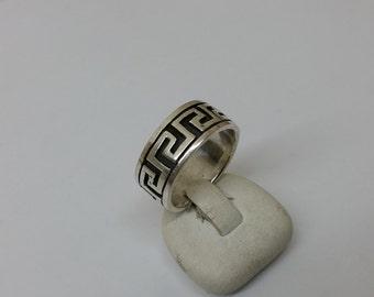 Ring Silver 925 meander pattern vintage SR663