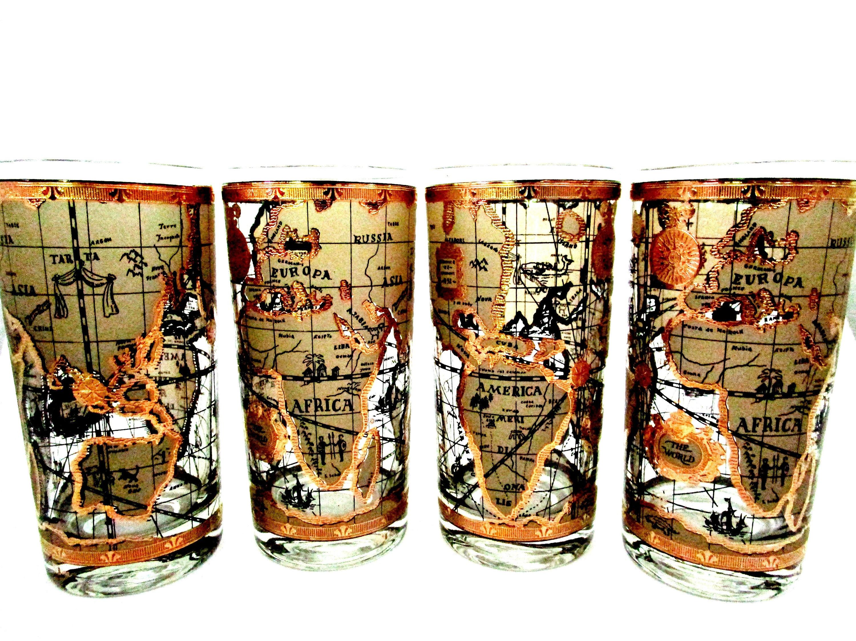 Mid century barware set of 4 cera world map barware world map 1 gumiabroncs Gallery