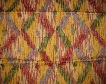 Southwestern Ikat Diamond Warp Upholstery Designer Fabric Sample Highland Court Gold Green Blue Red