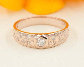 Rose Gold Diamond Wide Band Ring/Diamond Wedding Band/Diamond Wedding Ring/14k Solid Rose Gold Ring/Star Dust Diamond Ring