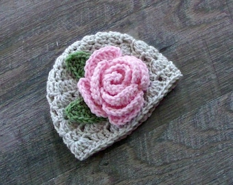 Flower Baby Hat, Crochet Baby Girl Hat with Pink Rose, Baby Girl Photo Prop, Coming Home Hat, or Baby Shower Gift