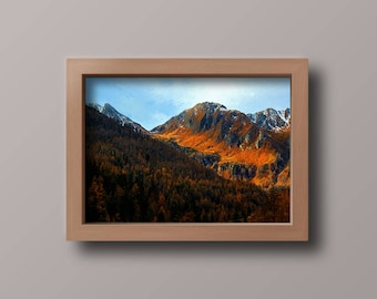 Wooded hills and mountains oil painting, digital painting, digital download
