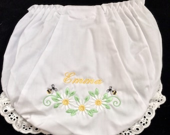 Personalized Diaper Cover, Personalized Bloomers, Machine Embroidered Diaper Cover, Mongrammed Diaper Covers, Diaper Cover with Bees
