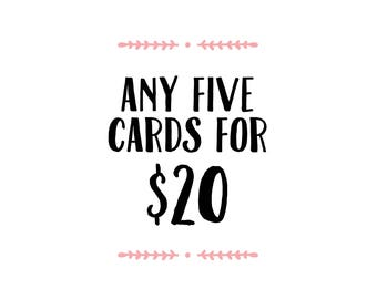 5 for 20 greeting cards! Bulk cards, Funny birthday cards, Friend cards, Mother's Day cards, Father's Day cards, cute cards, Mix & Match