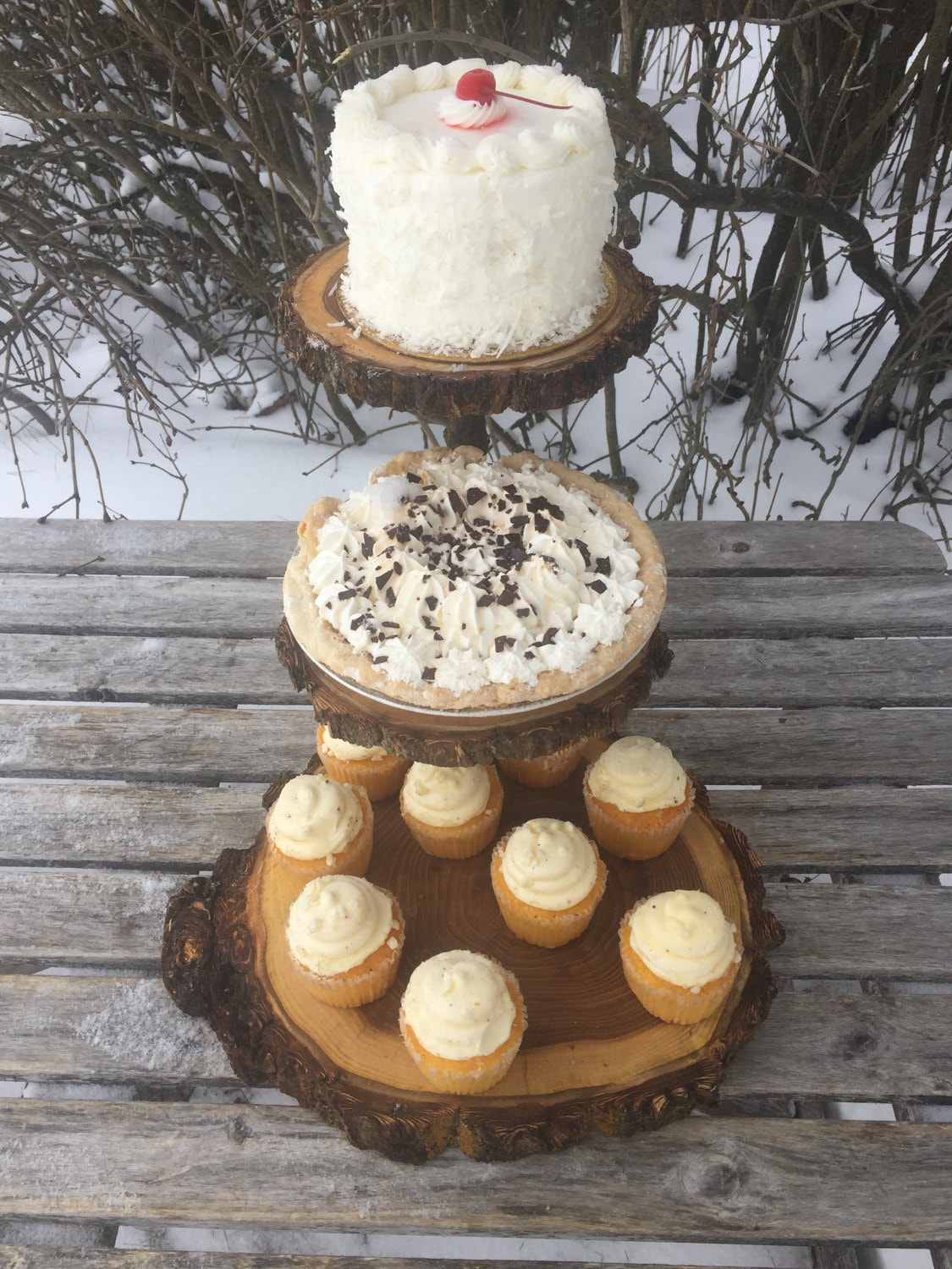 Rustic Cake stand Cupcake Stand Wedding Large Log Elm Wood wooden 3 ...