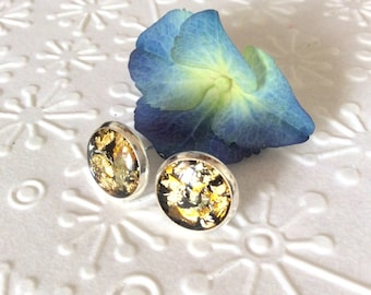 Round gold leaf stud earrings silver plated,resin earrings,resin stud,tiny stud,gold leaf earrings,gold leaf stud,gift for her