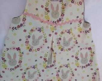 Toddler/girl dress bunny garland, sleeveless, fully lined, cotton dress, bunny dress 18 months