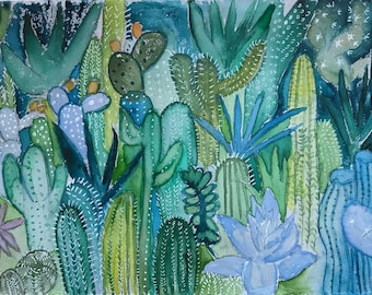 Original painting Cactus Forest Watercolor N 1