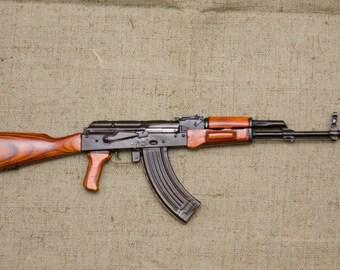 """Automatic weapon AK  Machine Gun miniature 1:3 wood metal  gift man 11,81"""" 30 cm souvenir"""