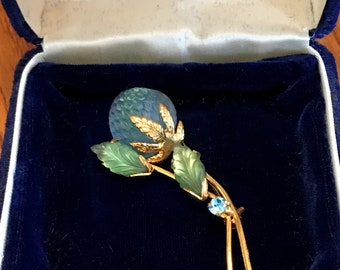 Vintage Signed Jewelry Austrian Crystal Berry Gold Tone BROOCH PIN
