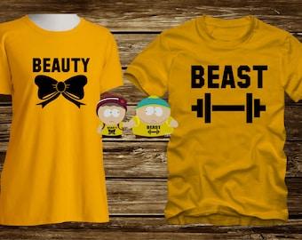 Matching T-Shirts - BEAUTY / BEAST -Men's and Women's Sizes Available -  south park heidi cartman boyfriend girlfriend husband wife partners