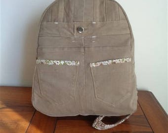 Recycled denim canvas backpack TAUPE