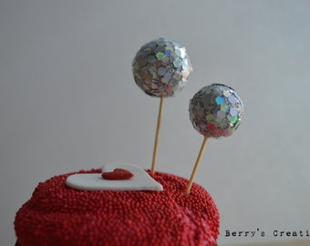 Silver Disco Ball Cupcake Topper. Cake Topper. Cupcake Decor. Cake Decor. Party Decor. Baked Goodies Decor.