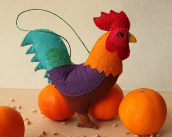 Rooster Felt Ornament