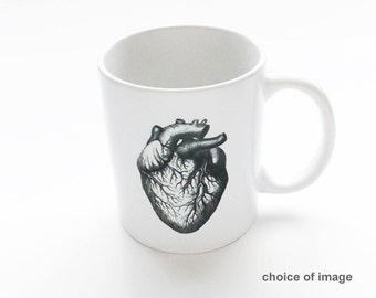 Coffee Mug Gift for him men stocking stuffer skull brain anatomical heart graduation science cardiology medical coworker school office goth