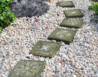 Stepping Stones, Ancient Square, Set Of 6 For Miniature Garden, Fairy Garden
