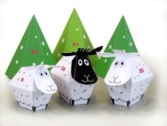 Advent calendar 25 little sheep and dcor paper craft kit advent calendar 25 little sheep and dcor paper craft kit diy paper toy holidays dcor printable pdf christmas ornament solutioingenieria Images