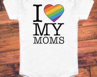 I Heart My Moms (2 Designs) - LGBT+ Baby Proud Rainbow Baby One Piece