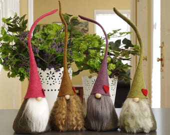 COEUR de Gnomes nordiques, CIMNI, elfe, rose, violet, cadeaux de la Saint-Valentin, Pâques, maison Gnome, coeur rouge, elfes, fées, GnomeS Woodland, scandinaves