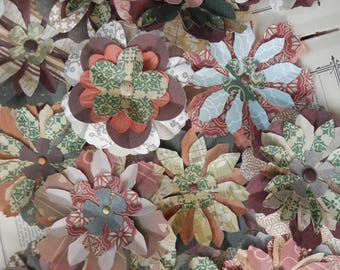 "PAPER FLOWERS set/3 ""A Walk in the Woods""  Colors of Trees Leaves Moss and Lichens"