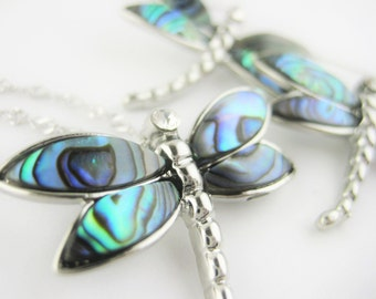 Sterling Silver Dragonfly Jewelry Set - Seashell Necklace Earring Set - Gifts For Women - Womens Beach Jewelry Abalone Shell Jewelry