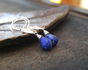 oasis... silver lapis lazuli earrings / sterling silver & royal blue lapis lazuli teardrop